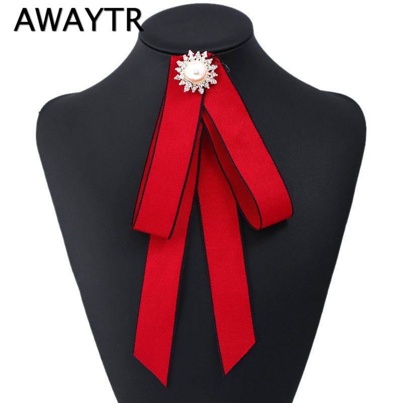 AWAYTR Female Pearl Tie Brooch Sequin Bow Solid Blue Black Bow Tie For Women Wedding Tassel Ties Fabric Pins Cloth Red Bowtie