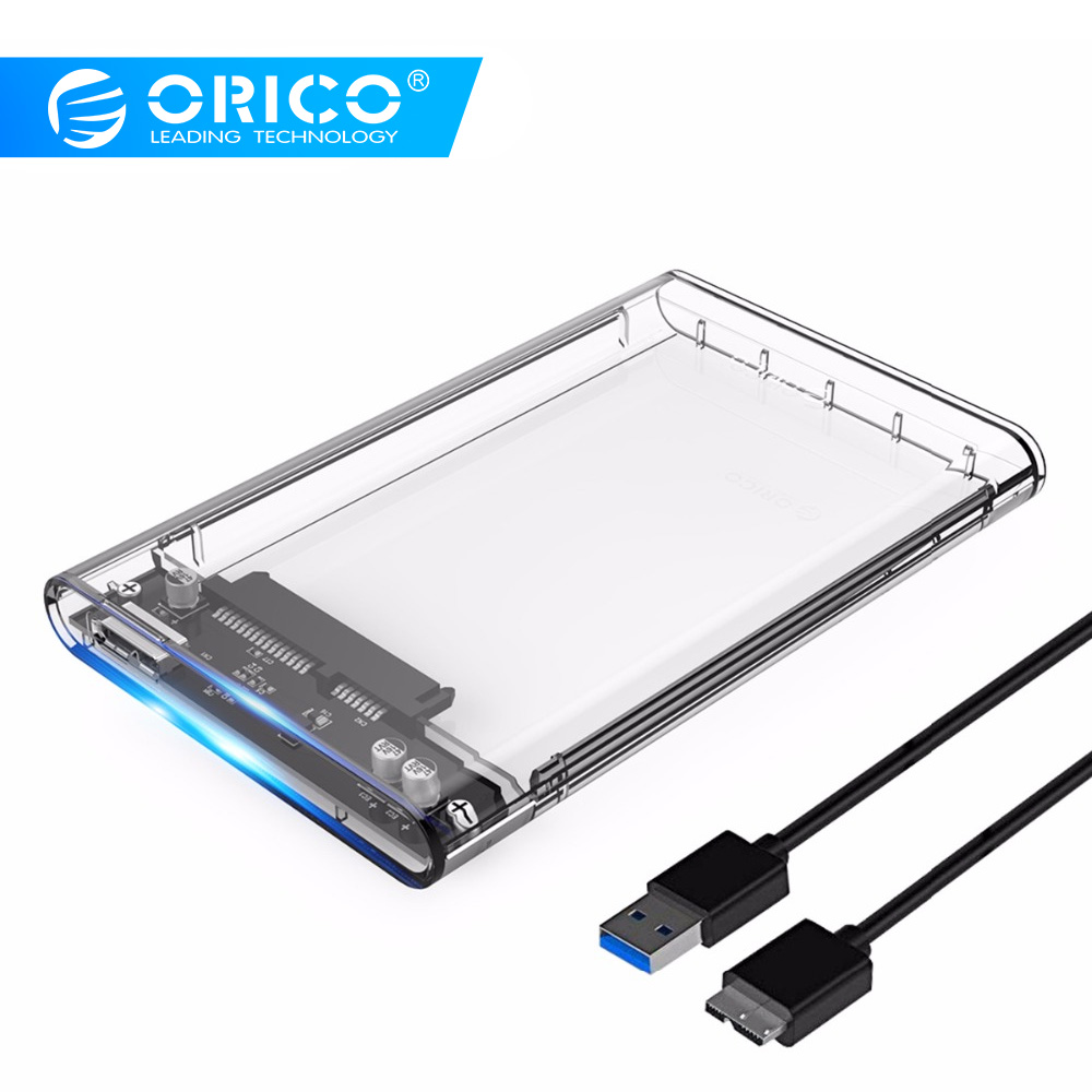 ORICO 2139U3 Disco Duro carcasa 2,5 pulgadas transparente USB3.0 Disco Duro carcasa apoyo protocolo UASP para 7-9,5mm HDD