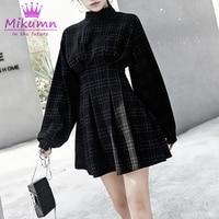 2019 Spring Women Vintage Plaid Mini Dress Long Sleeve A line High Waist Punk Style Gothic Dress Female Retro Harajuku Dresses