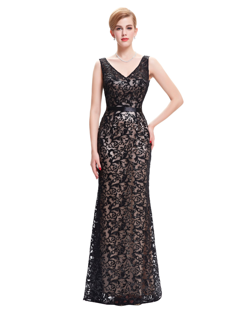 Long Evening Dress Kate Kasin Double V Neck Beaded Evening Gowns Lace Mother of the Bride Dresses Black Formal Prom Dress 0034 7