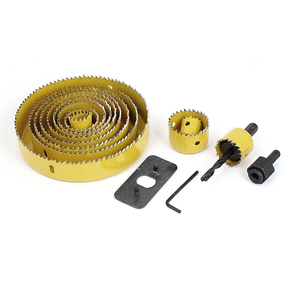 EWS-Wood Sheet Metal Cutter Mandrels Saws Hole Saw Drill Bits Kits 16 Pcs ews 25mm diameter hole saw cutter twist drill bit tool