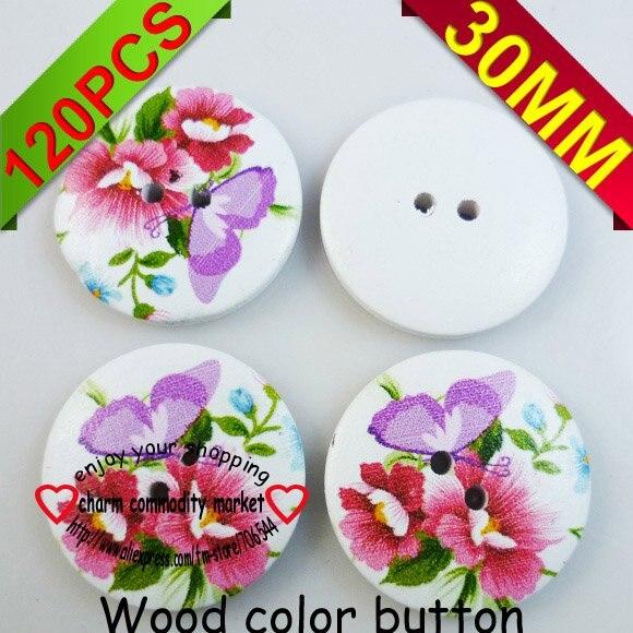 っ120 unids 30mm patrón de mariposa botón de madera del color de ...