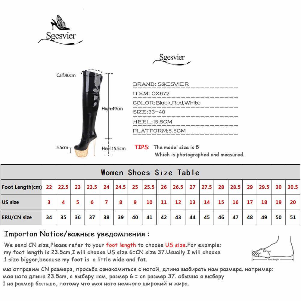 Sgesvier Kadınlar Seksi Dans Gece Kulübü Çizmeler 16 CM Aşırı Yüksek Topuklu Platformu Diz Üzerinde Uyluk Yüksek Çizmeler Kırmızı beyaz ayakkabı OX672