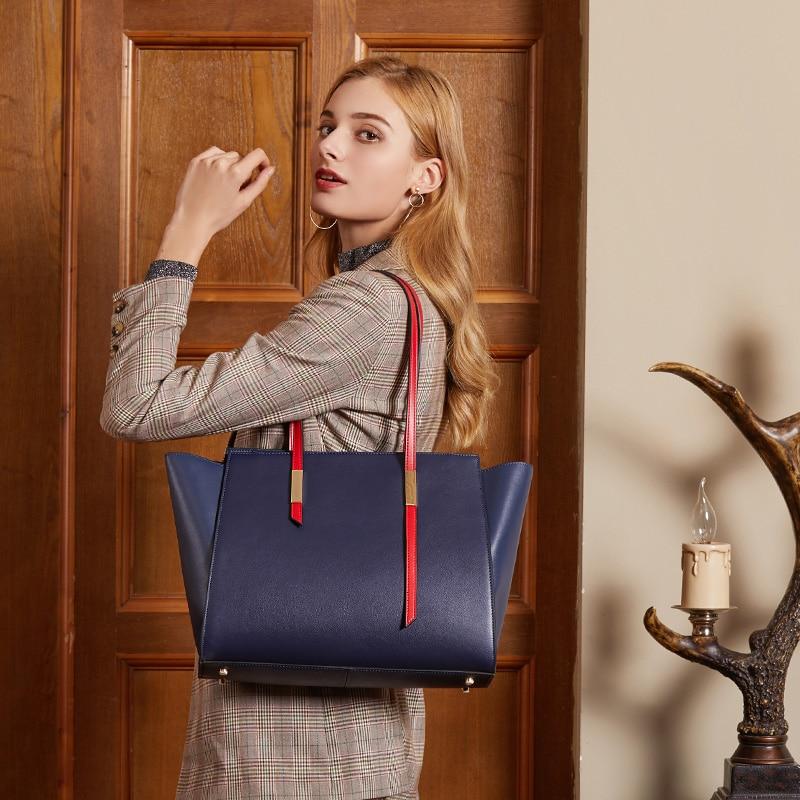 Women Handbag Genuine Leather Female Hobos Bags Panelled Designer Ladies Bag Large Handbag Tote Bags For Women Shoulder Bag