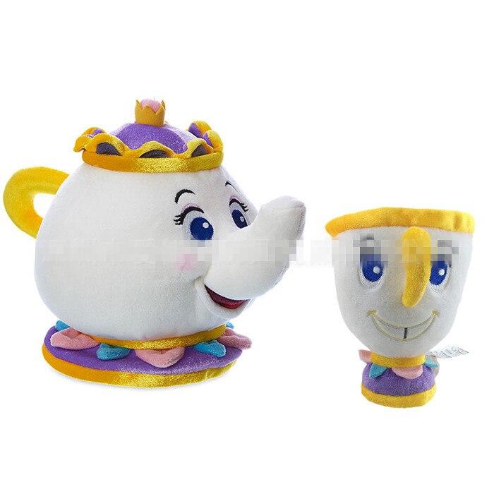 [POT + CUPS] Cartoon Beauty And The Beast Mrs Pot Coffee Tea Cups Plush toys Set Pot Cup Mug Gift T92