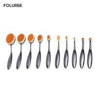 FOLUREE Professional 10 Pcs Oval Toothbrush Makeup Brushes Set Eyeshadow Blending Blush Foundatipon Cosmetic Tool Kits