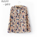 2015 New Shirt Lady Long Sleeve Casual Shirt Painted Printed Lapel Chiffon Shirt Slim Tops Lattice Blouse