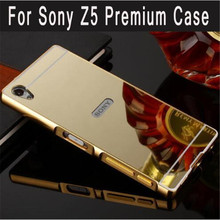 все цены на For Sony Z5 Premium Case Hybrid Metal Aluminum Frame Acrylic Mirror Back Phone Cover for Sony Xperia Z5 Premium Z5 Plus Funda онлайн
