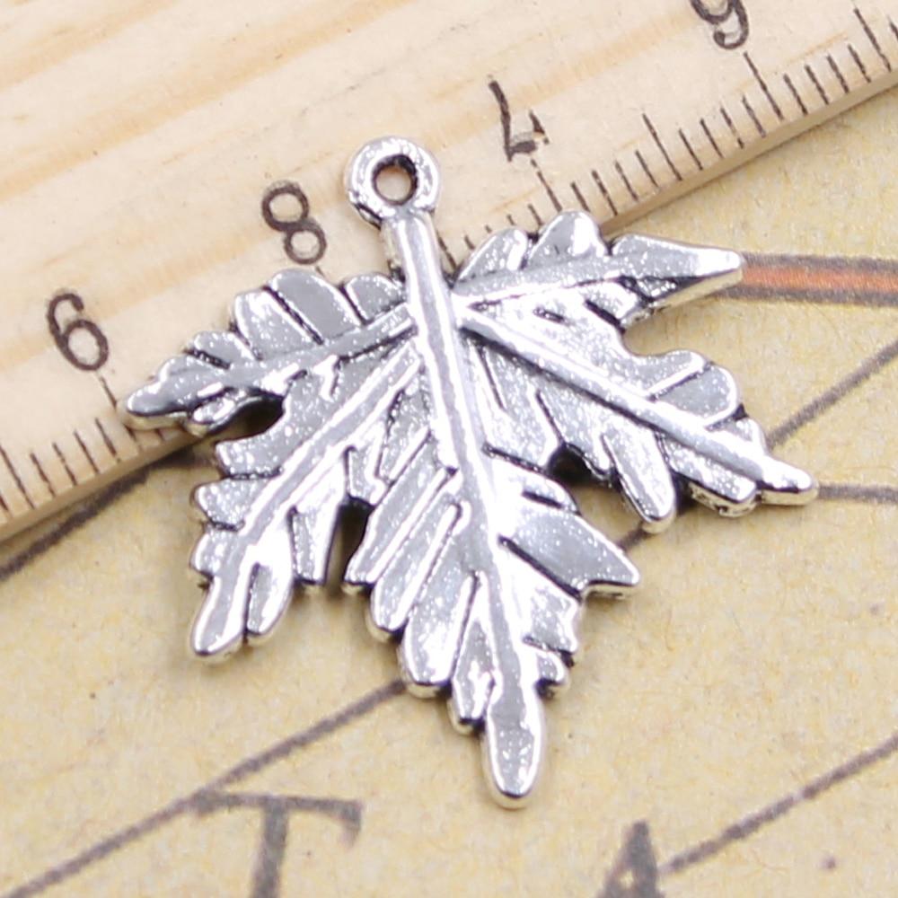10pcs Charms Canada Maple Leaf 28x27mm Antique Silver