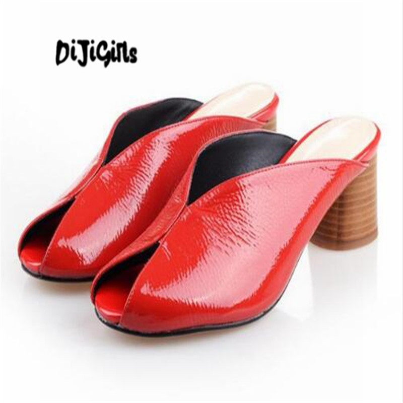 DIJIGIRLS 2018 genuine leather European style two-piece open toe solid color sexy nightclub thick med heel summer mules