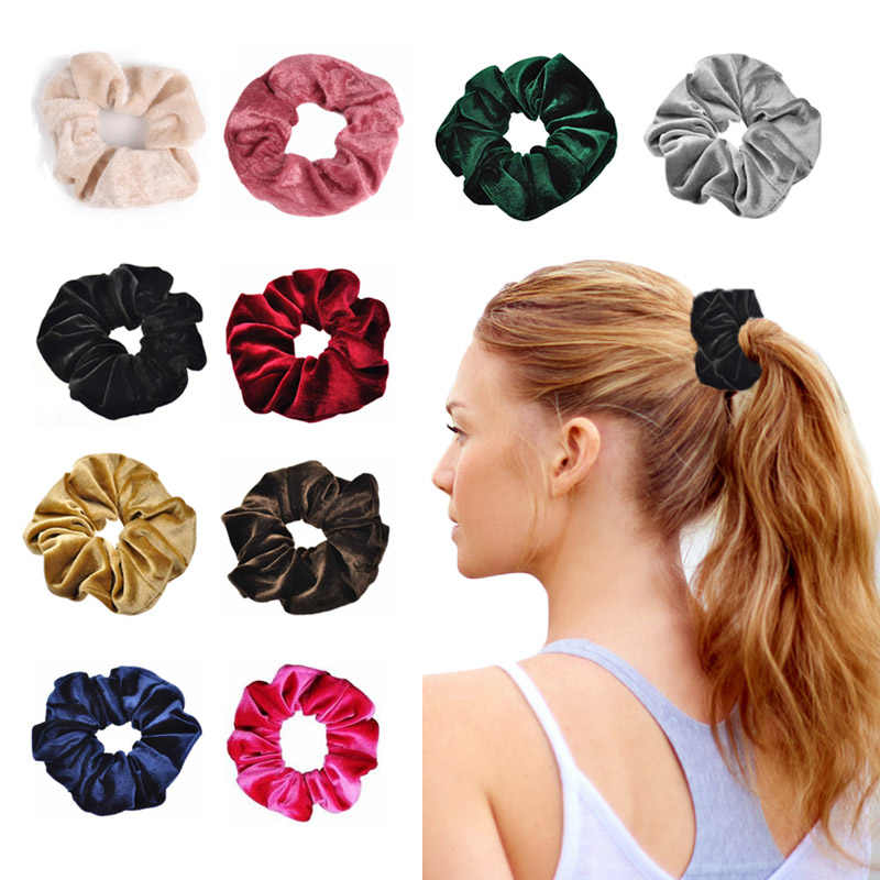 10 pcs/lot Soft Velvet Headband Hair Rubber Scrunchie Ponytail Donut Grip Loop Holder Stretchy Hair band Hair Ties Accessories