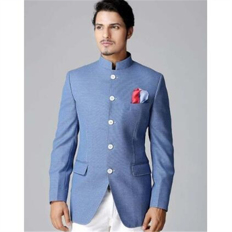 Custom Made Sky Blue Coat With White Pant Men Suit Terno ...