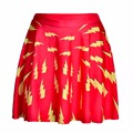 NEW 1110 Summer Sexy Girl Comics Superhero Red The Flash Printed Cheering Squad Tutu Skater Women Mini Pleated Skirt Plus Size