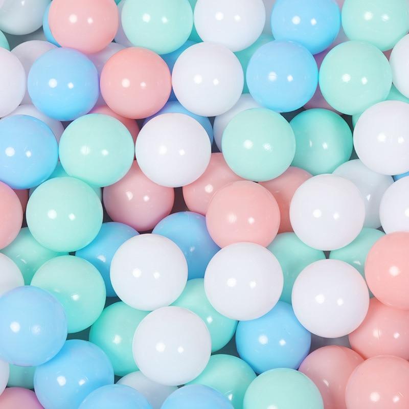 100 pçs/lote 7 cm Eco cor Macaron Plástico Piscina de Água do Oceano Bola Onda Bebê crianças Engraçado bola Bola Brinquedos Ao Ar Livre esportes diversão