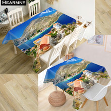 HEARMNY 3D Tablecloth Greece Oxford Cloth Dust-proof Rectangular Table Cover For Party Home Decor 100X140cm140X140cm