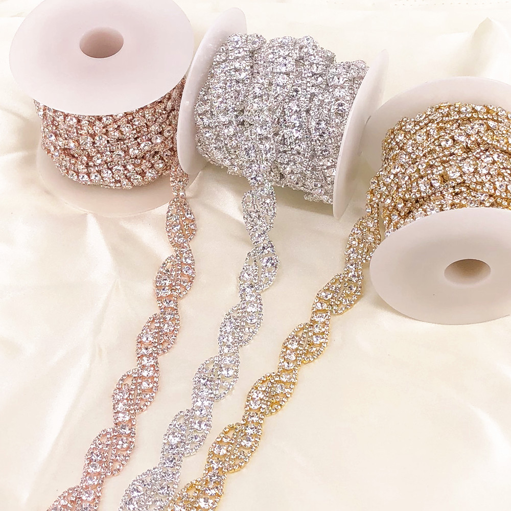 Image 5 - 1 Yard Rose Gold Crystal Rhinestone Trim Chain by Yard For wedding dress decorative crystal chainJewelry Findings & Components   -