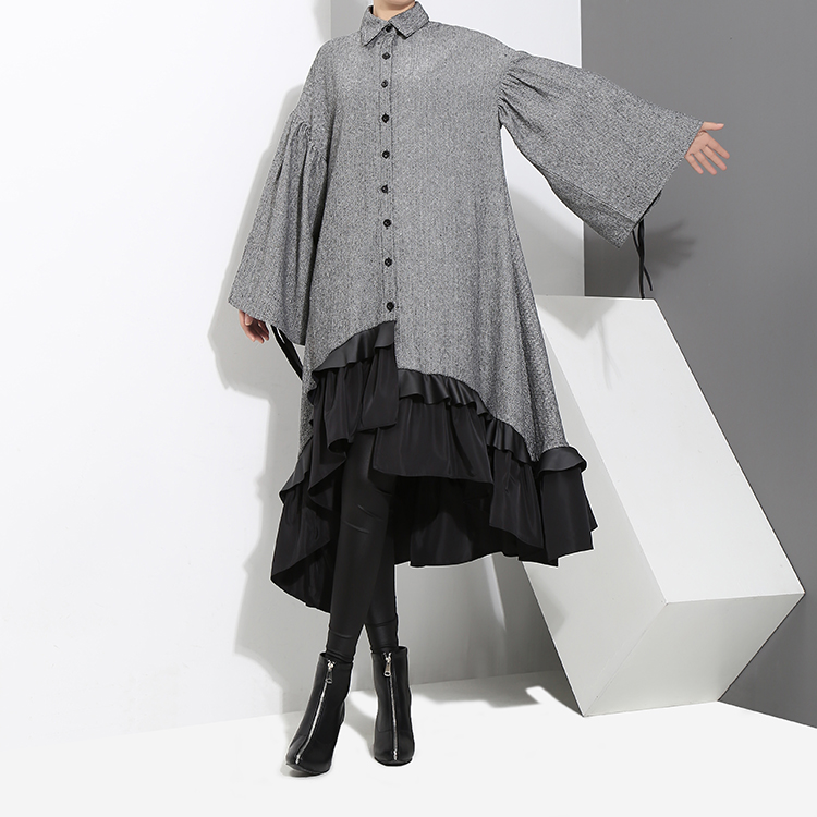 New Fashion Style Plus Size Gray Patchwork Warm Wear Ruffled Elegant Shirt Dress Fashion Nova Clothing