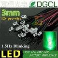 Предварительно проводсветодиодный Светодиодная лампа 1,5 Гц, 12 В/24 В постоянного тока, 3 мм, одиночная мигающая лампа, водопрозрачная, зеленая...