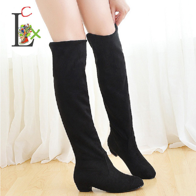 LCX 2017 New Fashion Sweet Lady Shoes High Thigh Knee Autumn Winter Over-the-Knee Casual Women Boots Plus Size Boots for Women