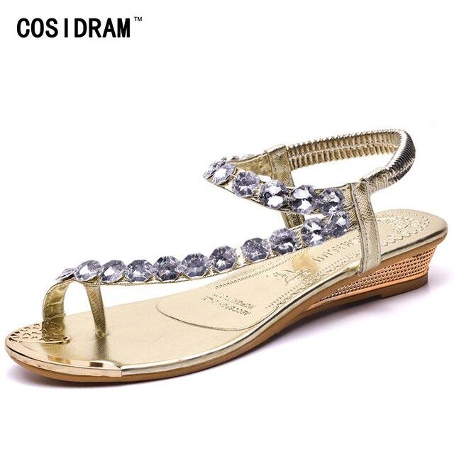 fc102830e7b1a COSIDRAM Summer Fashion Woman Sandals Rhinestones New Female Shoes Roman  Shoes Sweet Girls Wedge Heels Thong