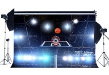 Basketball Court Backdrop Stadium Shining Stage Lights Sports Match Bokeh Photography Background for Boys