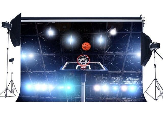 Boisko do koszykówki tło stadion lśniące światła sceniczne mecz sportowy Bokeh fotografia tło dla chłopców