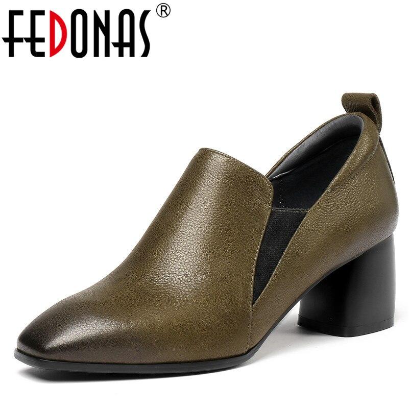 Fedonas 새로운 디자인 신발 여자 진짜 가죽 광장 발가락 슬립 신발에 우아한 높은 뒤꿈치 펌프 고품질 사무실 펌프-에서여성용 펌프부터 신발 의  그룹 1