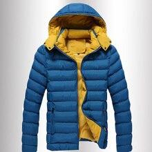 Casacos de Inverno dos homens Casaco Com Capuz de algodão Casacos Adolescente do Sexo Masculino Com Capuz Slim Fit blusão sólida de Alta Qualidade Plus Size M L XL 2XL 3XL