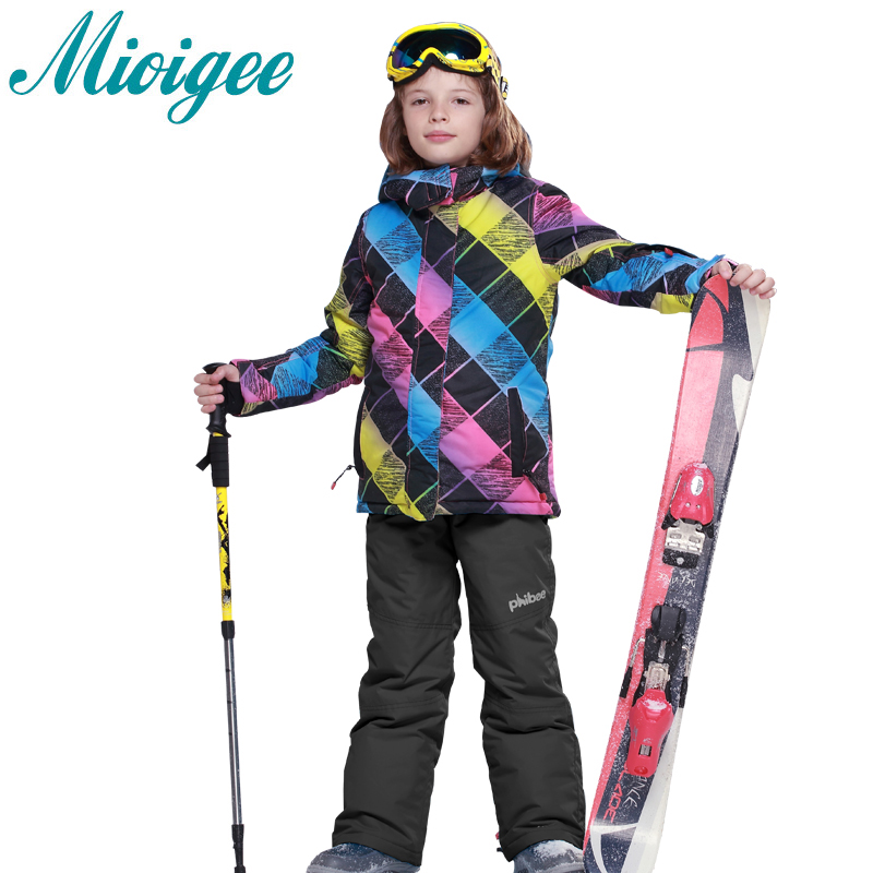 Mioigee 2017 Children sets Big Boys Suits winter jacket + ski pants kids winter clothing set for girls Outdoor warm ski set autumn winter boys girls clothes sets sports suits children warm clothing kids cartoon jacket pants long sleeved christmas suit