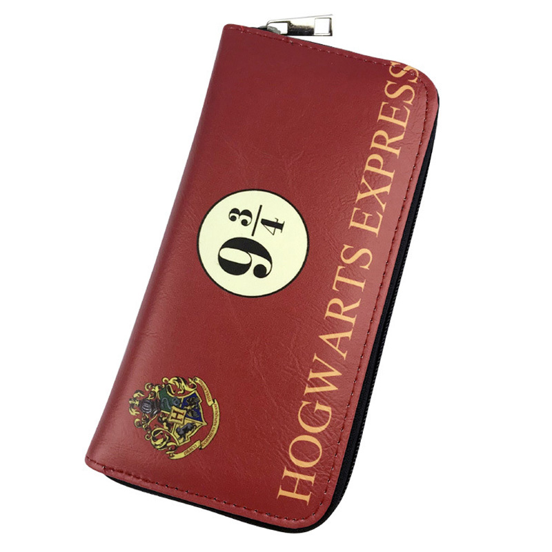 Anime Harry Potter Purse Movies Cartoon Leather Long Wallets for Yong Men Women Money Bags with Card Holder Coin Pocket Wallet new designs harry potter print purse dollar price anime wallet leather card holder bags gift men women zipper short wallets