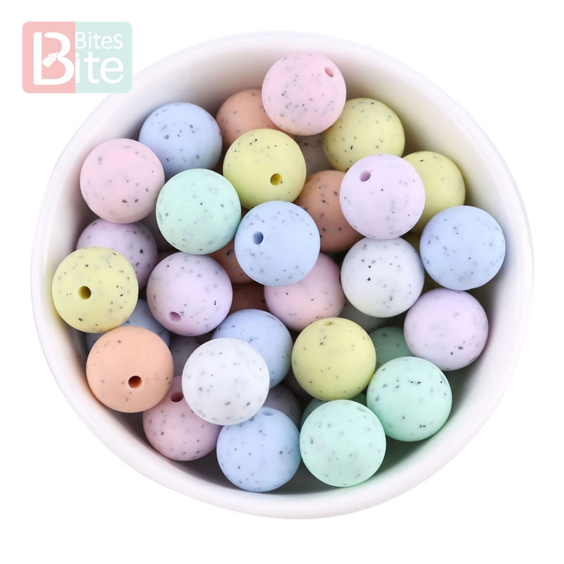 Bite Bites 10PC Baby Silicone Teether Sesame Beads Food Grade Perle Silicone Rodent Teething DIY For Nursing Necklace Nurse Gift