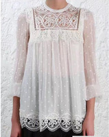 Meridian Circle Lace Top White Silk Blouse Women Sexy See Through Blouses Office Lady Tops Ruffles Long Sleeve Shirts