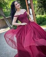 Elegant Burgundy Ball Gown Wedding Dresses Arabic Off The Shoulder Country Garden Wedding Gown Corset Lace Bride Dress Reception
