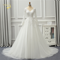 Jeanne Love 2018 New Arrival White Wedding Dresses V Neck Backless Lace Long Sleeves Robe De Mariage JLOV75990 Vestido De Noiva