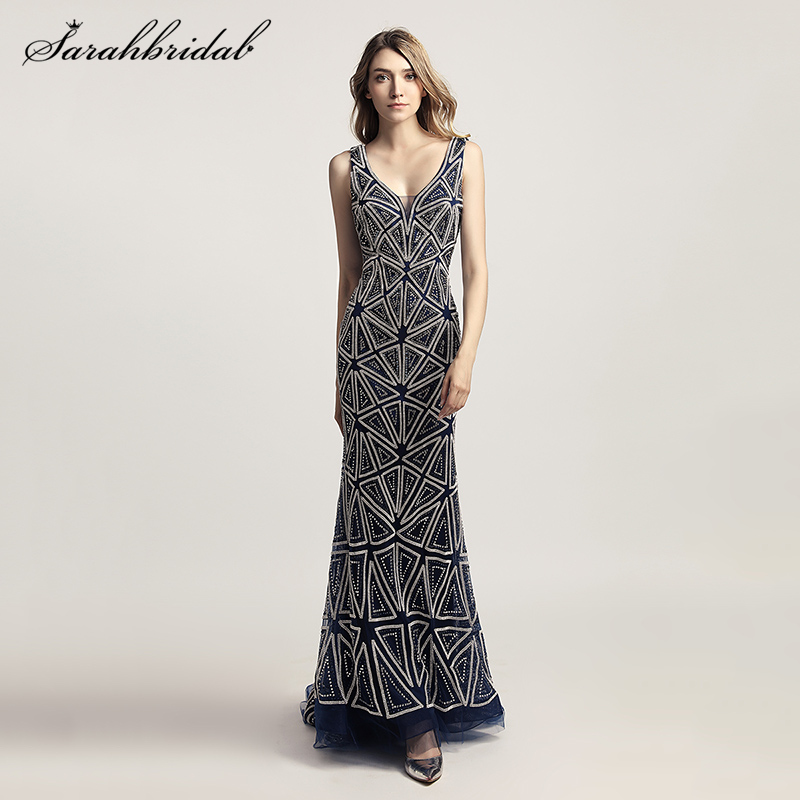 Latest Luxury Styles Elegant Formal Long Mermaid Evening Dresses Real Photos Crystal Party Gowns Robe De Soiree LSX423