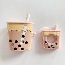 Bezprzewodowa Bluetooth etui na słuchawki silikonowe miękkie bubble tea śmietanka herbaty wzór etui na airpods 1/2 BIA124
