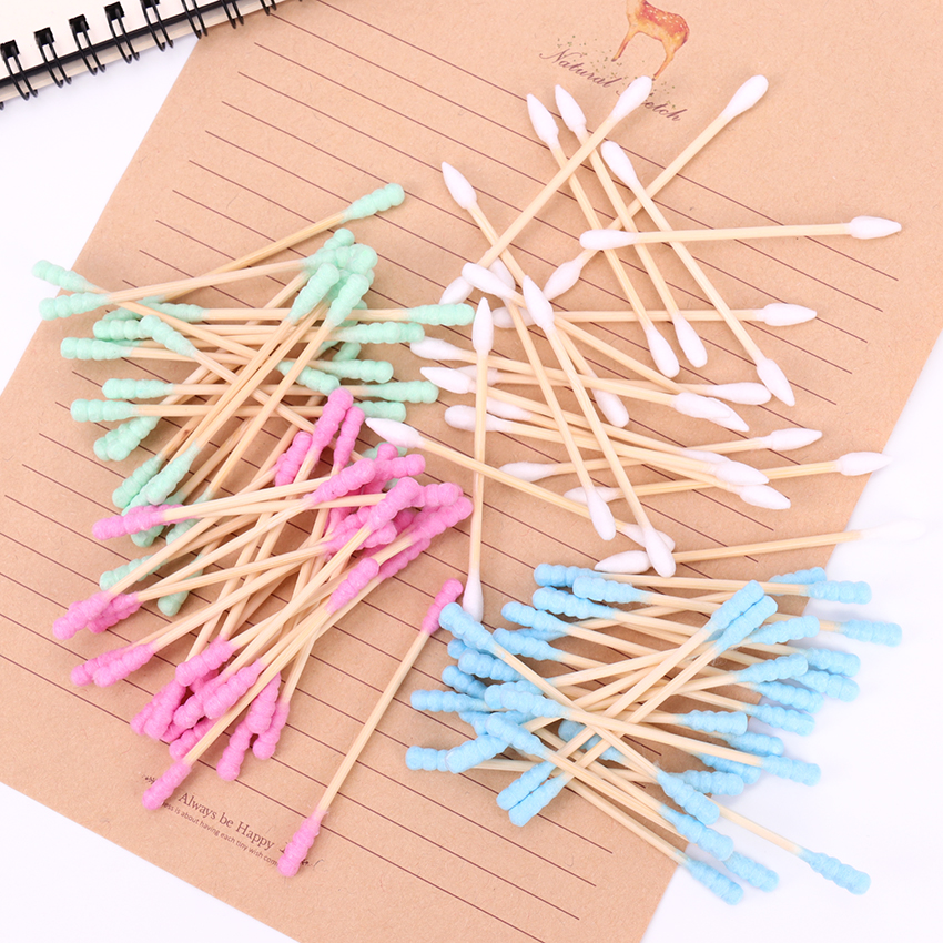 Купить с кэшбэком 100PCS/Pack Double Head Cotton Swab Women Makeup Cotton Medical Double-head Wood Sticks Ears Cleaning Health Care Tool