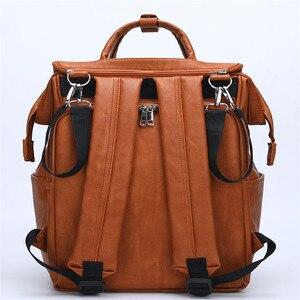 Image 5 - Bolsa de pañales para bebés de cuero PU, mochila para madres, bolsa de pañales de gran capacidad con almohadilla cambiadora + correas para cochecito, color marrón y negro