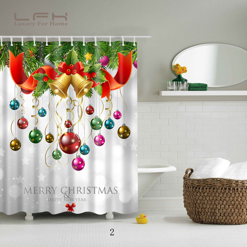 LFH Santa Claus Shower Curtain Merry Christmas Pattern Waterproof Bathroom Bath And Mat Dec In Curtains From Home