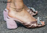 Sexy Fur Embellished Chunky Heels Dress Party Shoes For Ladies Luxury Rhinestone Bowtie Princess Shoes Woman Slip on Slippers