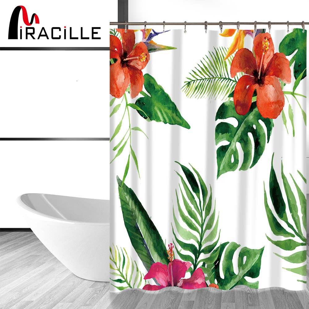 Miracille Flores Tropicales y Plantas Árbol de Impresión Cortina de Ducha Imperm