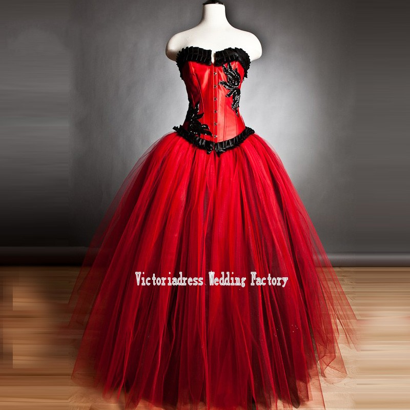 Popular red ball gown wedding dress buy cheap red ball for Halloween wedding dresses plus size