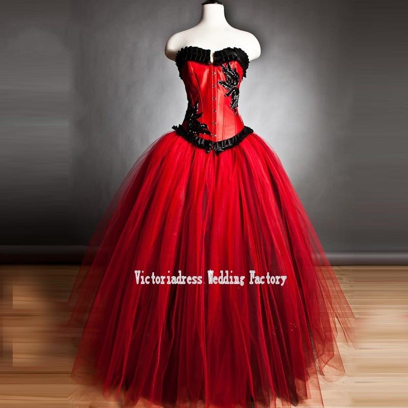 Popular Red Gothic Wedding Dress-Buy Cheap Red Gothic Wedding ...