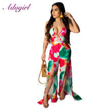 sexy smmer Tie Dye Print halter bandage night party jumpsuit women casual off shoulder Wide Leg romper female streetwea overalls