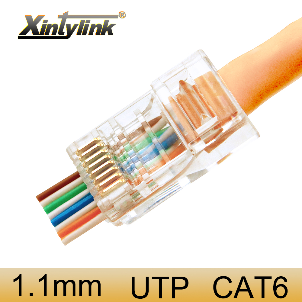 xintylink EZ <font><b>rj45</b></font> connector ethernet cable plug cat6 network 8P8C gold plated unshielded <font><b>jack</b></font> utp rj 45 terminals 100pcs 50pcs image