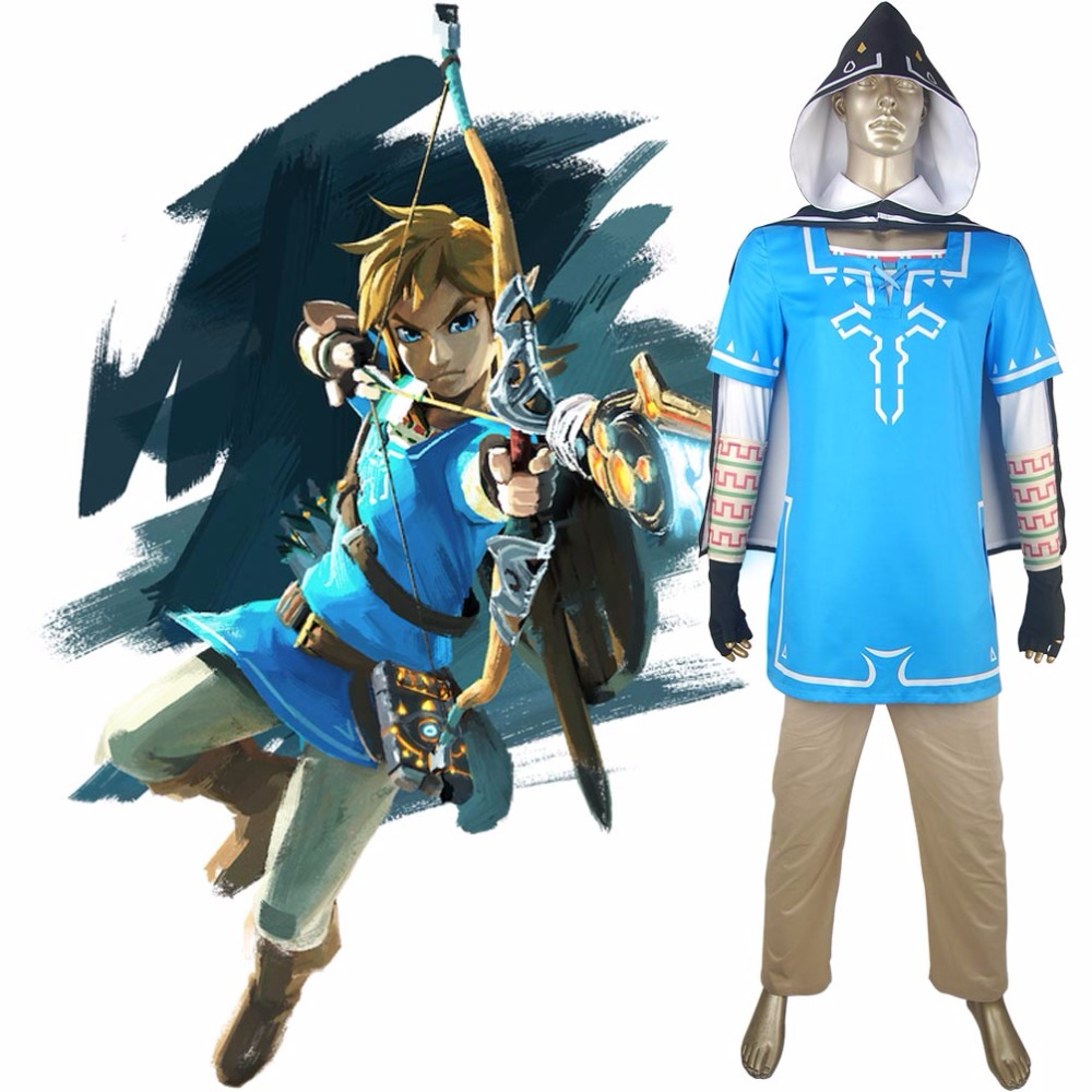 Us 69 0 Men The Legend Of Zelda Breath Of The Wild Link Blue Outfit Halloween Comic Con Cosplay Costume In Game Costumes From Novelty Special Use
