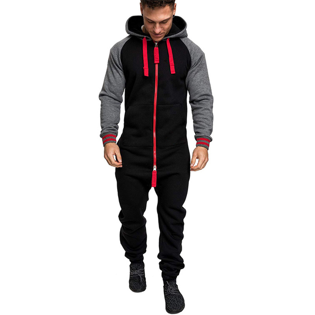 Casual Autumn Hooded Tracksuit Jumpsuit Long Pants Romper For Male Mens Fleece warm Overalls Sweatshirts Male Streetwear X9126 1