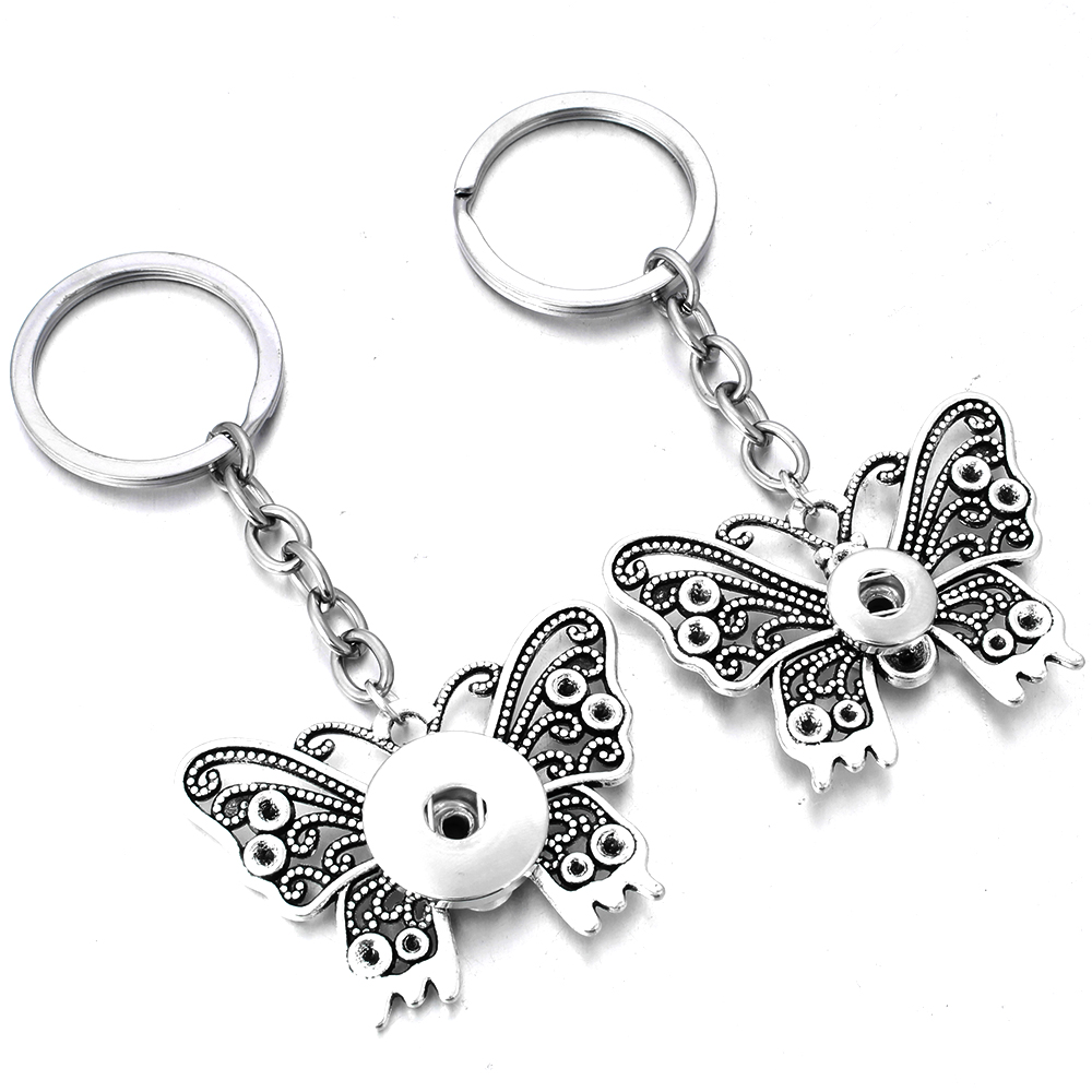 New Snap Jewelry Vintage Butterfly KeyChain Bag Pendant Snap Buttons Key Chains Fit 12mm 18mm Snap Button Keyring For Women
