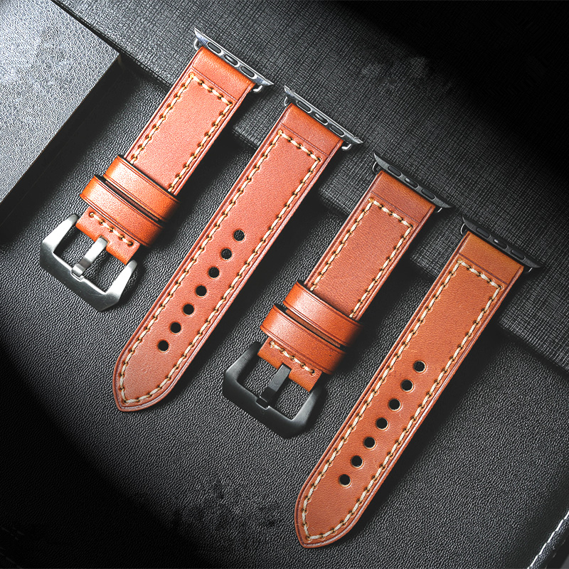 TJP Cowhide Genuine Leather Red Brown Strap Watch Band For Apple Watch iWatch Series 1 Series 2 38mm 42mm Wristband With Adapt istrap black brown red france genuine calf leather single tour bracelet watch strap for iwatch apple watch band 38mm 42mm