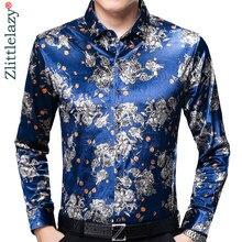 80420804e9379 2018 manga larga social floral diseñador camisas hombres slim fit vintage  Moda hombre Hawaiano camisa ocasional del hombre jerse.